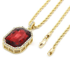 "Mens 14k Gold Plated Iced Out Red Ruby Octagon Pendant Hip-Hop 24"" Rope Chain M3"