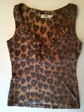 Vintage Moschino Leopard Heart Animal Print Sweater Knit Shirt Top S Small M Med