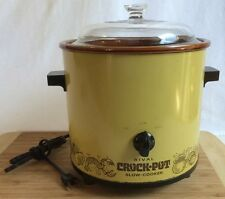 VINTAGE RIVAL CROCK POT SLOW COOKER SERVER 3100/2 Yellow GLASS LID 3.5 QT Warmer