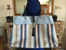 GORGEOUS HARD TO FIND LONGCHAMP STRIPES CANVAS LARGE SHOPPING TOTE BAG FRANCE