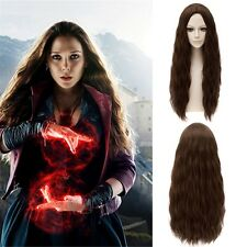 Scarlet Witch Central Parting Women Cosplay Brown Long Wavy Curly Full Heat Wigs