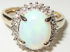 Beautiful QVC 9ct yellow gold Opal & Diamond cluster ring
