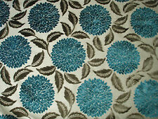"SANDERSON CURTAIN/UPHOLSTERY FABRIC DESIGN ""Ceres Velvet"" 8 M TEAL & CHOCOLATE"