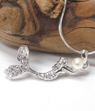 NEW Premier White Gold Plated MERMAID w/Faux Pearl Crystal Pendant Necklace