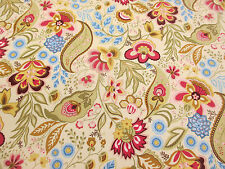 "Cream Floral & Paisley ""Sophie"" Printed 100% Cotton Poplin Fabric. PER METRE!"