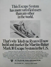 7/1977 PUB TELEDYNE RYAN MARTIN BAKER MARK 10 ESCAPE SYSTEM SIEGE EJECTABLE AD