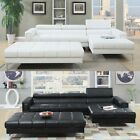 3PC Black White Bonded Leather Tufted Sectional Sofa w/ X Long Cocktail Ottoman