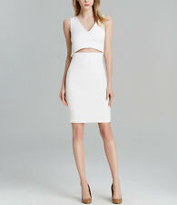 *NEW* French Connection $228 White Glamour Stretch Cut Out Slit Dress. 6 Small