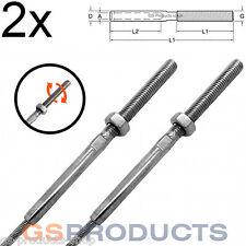 2x 3mm Stainless Steel Swage Stud Terminal Wire Rope Threaded End - Right Handed