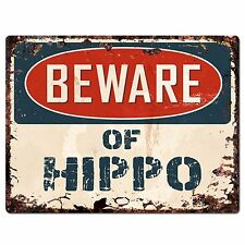 PP1491 Beware of HIPPO Plate Rustic Chic Sign Home Room Store Decor Gift