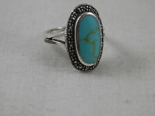 Vintage Sterling Silver Turquoise & Marcasite ring size 7