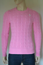 NEW Abercrombie & Fitch Wolf Pond Cable Knit Sweater Jumper Pink L RRP £98