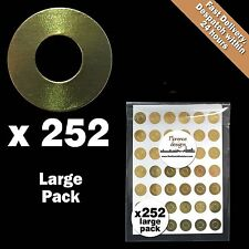 252 x Gold foil hang tag ring/round/hole punch reinforcement stickers/labels