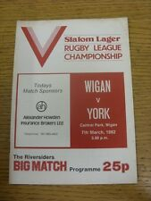 07/03/1982 Rugby League Programme: Wigan v York  . Condition: We aspire to inspe