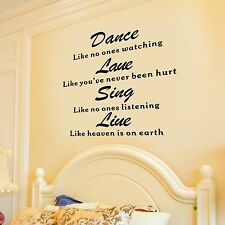 Removable Vinyl Decal Art Mural Home Living Room Decor Quote Wall Sticker Love $