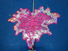 pink leaf sequin embroidery patch lace applique motif dress dance costume