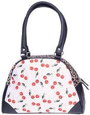 Liquor Brand CHERRIES Kirschen Punkte Bowler Bag / Handtasche