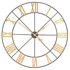 Extra Large 102cm Black With Gold Roman Numeral Metal Wall Clock Limited Qty