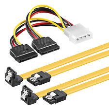 2x 0,5m S-ATA 3 Datenkabel Winkel (Clip) + 4pin zu 2x SATA Stromadapter SSD HDD