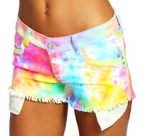 NEW Womens SHORTS DENIM Neon Bright Ladies HOT PANTS Size 6 8 10 12 14 short