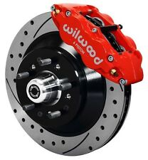 """WILWOOD DISC BRAKE KIT,FRONT,79-86 GM,13"""" DRILLED 1 PIECE ROTORS,6 PISTON RED"""