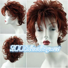 Ladies short Curly Synthetic Wig Brown red Mixed wavy Wigs + wig cap