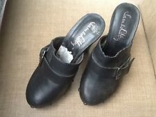 Sam & Libby Faux Black Leather clog mules Slides Booties studded trim size 7