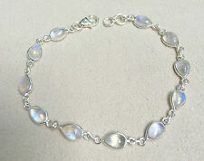 Handmade 925 Sterling Silver Bracelet with Rainbow Moonstone with Gift Box