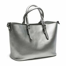 Women's Leather Tote Handbag Silver Shoulder Bag Modern Business Bag Travel Bag
