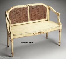 FRENCH COUNTRY ~ AGED CREAM & GOLD PAINTED WOVEN CANE SETTEE ~ BENCH CHAIR COUCH