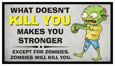 Fridge Magnet: What Doesn't KILL YOU Makes You Stronger (...Except Zombies)