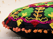 "16"" SUZANI ROUND DECORATIVE FLOOR SEATING CUSHION PILLOW COVER Bohemian Decor"