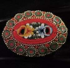 PRETTY VINTAGE ESTATE HAND MADE ITALIAN ITALY MICRO MOSAIC FLORAL FLOWER BROOCH