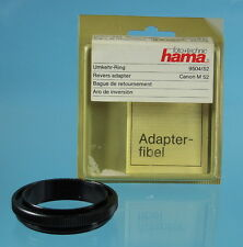 Hama Umkehr-Ring Reverse adapter Canon Ø M52 9504/52 anneau d'inversion - (0135)