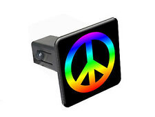 "Peace Sign Rainbow - 1 1/4 inch 1.25"" Trailer Hitch Cover Plug Insert"