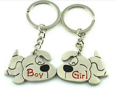 FD1081 Couples keepsake Sweet Puppy Dog Lover Keychain Keyring Keyfob Key Ring ~