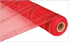 Deco Mesh Red & Silver Bold Laser Stripe  21 inch 10 yard roll re1012a1 NEW