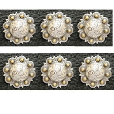 "Set of 6 WESTERN SADDLE ANTIQUE GOLD BERRY CONCHOS 1-1/2"" SCREW BACK"