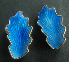 Attractive Norwegian Silver Blue Enamel Leaf Earrings - Karl Rasmussen Norway