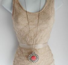 """Extra Long Coral Red Flower Large Pendant Necklace Womens Chain 42 """" New"""