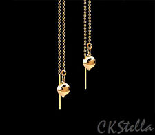 *CKstella* 14K Gold gf  Ball Simple Elegant Dangle Ear Thread Threader Earrings