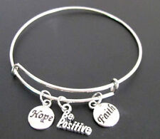 Be Positive Adjustable Expandable Bangle Bracelet, Hope Faith Charm Bracelet