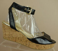 Michael Kors Black Patent Leather Ankle Strap Cork Wedge Peep Sandals Womens 9 M