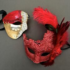 Men Women Red Brocade Lace Feather and Phantom Masquerade Custom Prom Mask