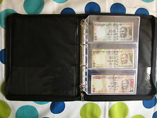 Banknote Paper Money File / Chain D-Ring Binder +10 Note Sheets (3-pockets)