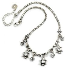 NEW SWEET ROMANCE VICTORIAN VISITING STYLE NECKLACE SILVERTONE/CLEAR