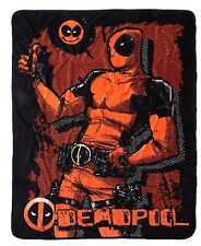 "Marvel Deadpool Smile Super Plush Throw 48""x60"" Blanket Rare HTF New With Tags!"