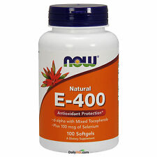 NOW Foods Vitamin E-400 IU Mixed Tocopherols + Selenium 100 SGels, 100% Natural