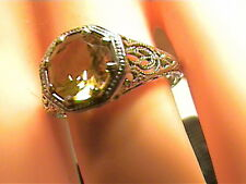 EDWARDIAN Silver sterling 925 RING 7 CITRINE FILIGREE VINTAGE old bold emerald