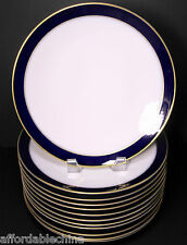 "Hutschenreuther Cobalt Gold Encrusted 9 3/4"" Wide Dinner Plates Set of 12 -MINT"